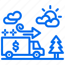bank, car, direction, money, road, tree, truck icon