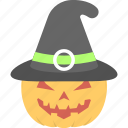 carved pumpkin, halloween celebration, halloween decoration, happy halloween, pumpkin with witch hat icon