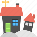 halloween celebration, halloween snow, haunted house, house on snow, snow village icon