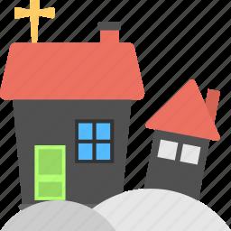 halloween celebration, halloween snow, haunted house, house on snow, snow village icon