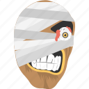 halloween character, halloween mask, halloween party, horror night, mummy face icon