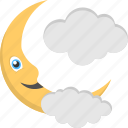 cloudy moon, halloween decor, moon with cloud, night theme, nighttime icon
