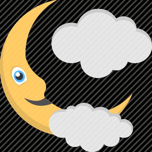 cloudy moon, halloween decor, moon with cloud, night theme, nighttime icon