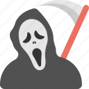 death personification, grave reaper, grim reaper costume, halloween costume, reaper scythe costume icon