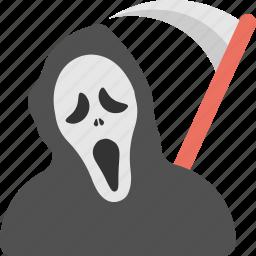 death personification, grave reaper, grim reaper costume, halloween costume, reaper scythe costume icon