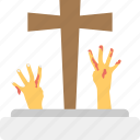 dead hands, grave hands, halloween theme, tombstones with hands, zombie hands icon