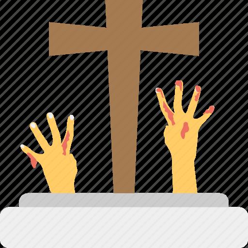 dead hands, grave hands, halloween theme, tombstones with hands, zombie hands icon