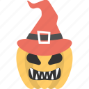 carved pumpkin with hat, dreadful character, halloween pumpkin, horrible concept, scary decoration icon