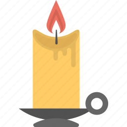 candle in stand, halloween candle, halloween decoration, halloween object, melting candle icon