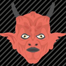 demon character, evil mask, evil satan, halloween accessory, lucifer mask icon