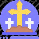 graveyard, cross, rip, grave