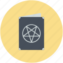 ancient book, halloween book, magic book, old book, pentacle symbol icon