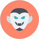 dracula, halloween, monster, undead, vampire face icon