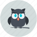 dreadful, fearful, halloween owl, horrible, owl, scary icon