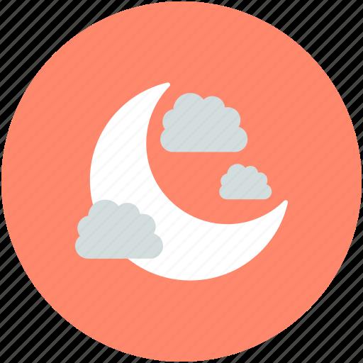 clouds, dark, moon, night, nighttime icon