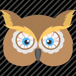 halloween masquerade, halloween owl, horrible owl, horror bird, owl mask, scary character icon