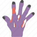 evil hand, ghost hand, halloween accessory, halloween celebration, zombie hand icon
