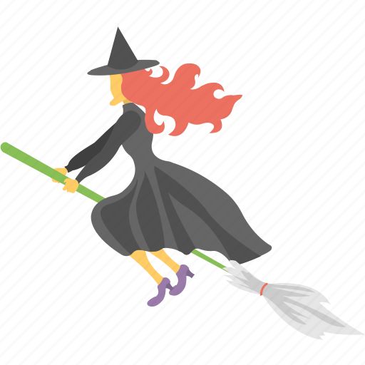 flying witch, halloween theme, halloween witch, scary halloween, witch on broom icon