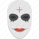 creepy, figure, halloween accessory, horror mask, massacre mask, scary face icon