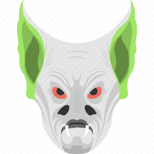 evil creature, halloween object, horror element, monster head, wolf mask icon