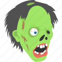 evil mask, halloween celebration, halloween object, spooky face, zombie mask icon
