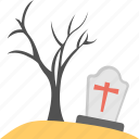 christian graveyard, halloween celebration, halloween tombstone, spooky tree, terrific scene icon