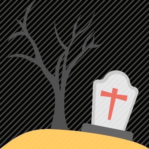 christian graveyard, halloween celebration, halloween tombstone, spooky tree, terrific scene icon