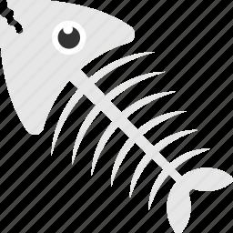 creepy fish, fish skeleton, halloween, skeleton, white fish icon