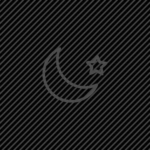 halloween, hallowen, line, moon, outline icon