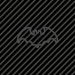 bat, halloween, hallowen, line, outline icon