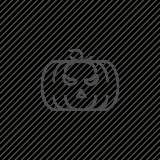 Halloween, hallowen, line, outline, pumpkin icon - Download on Iconfinder