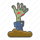 dead, halloween, hand, holiday, horror, scary, zombie icon