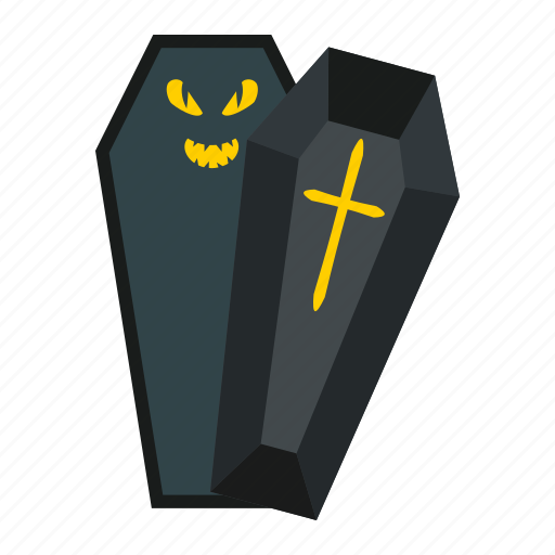 coffin, cross, dead, grave, halloween, holiday, scary icon