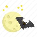 bat, dark, halloween, holiday, moon, night, scary icon
