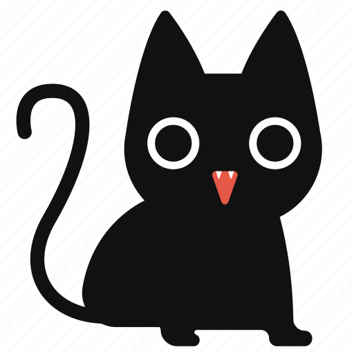 Black Cat Cartoon Cute Halloween Horror Icon
