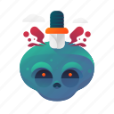 halloween, scary, skull, spooky, stabbed icon