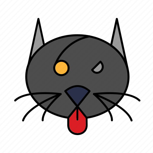 angry, black, cat, halloween icon