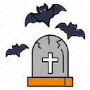 bat, dead, grave, halloween, horror, scary, tombstone icon