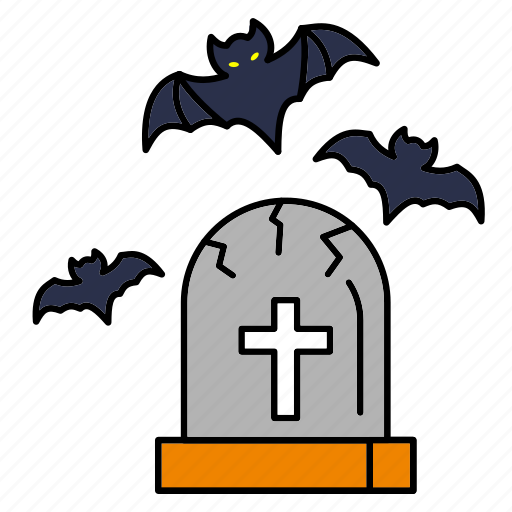 bat, dead, grave, halloween, horror, scary, tombstone icon