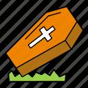 coffin, cross, death, halloween, zombie