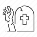 death, ghost, grave, halloween, hand, rising, zombie icon