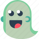 creepy, ghost, halloween, scary, silly, smile, spooky icon