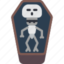 scary, skeleton, creepy, dead, tomb, coffin