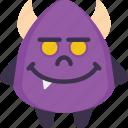 creepy, devil, evil, halloween, happy, scary, smile icon