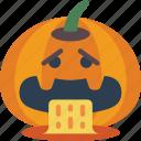 ill, jack'o'lantern, pumpkin, sick, spooky, vomit icon