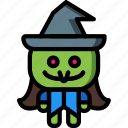 creepy, curse, evil, hat, spell, witch icon
