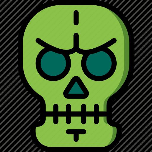 creepy, dead, scary, skeleton, skull, spooky icon