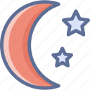 crescent, moon, stars, night