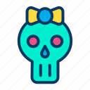 halloween, holiday, lady, skull icon