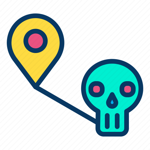 halloween, horror, location, map, place icon